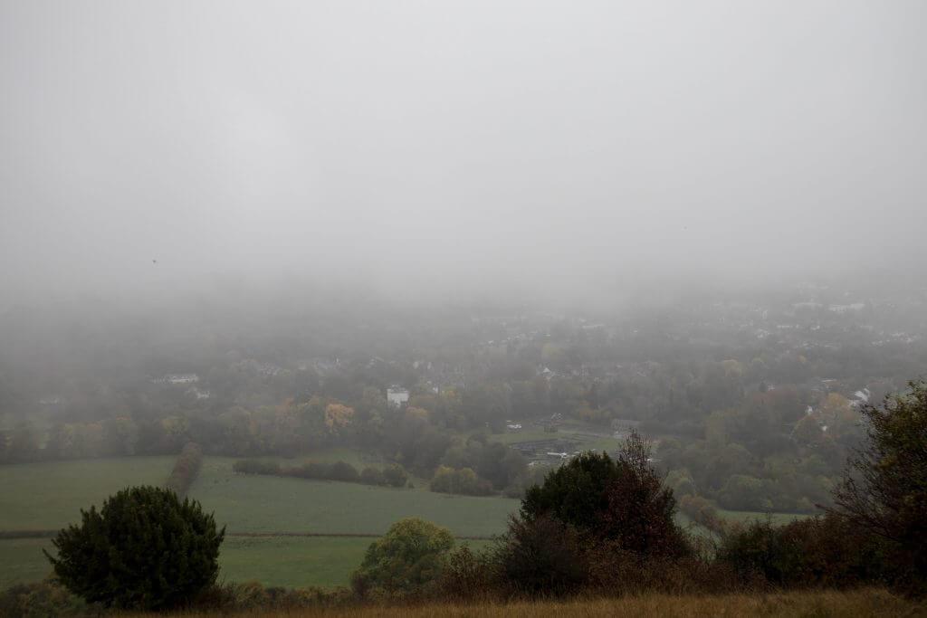 Het uitzicht valt vandaag tegen door de mist