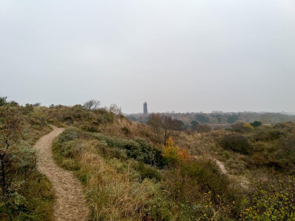 In de verte staat de vuurtoren van Haamstede, helaas in de steigers