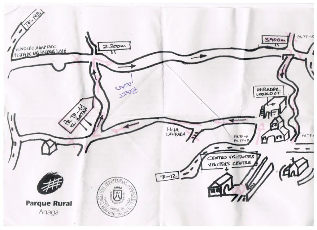 De handgetekende routekaart die we mee kregen
