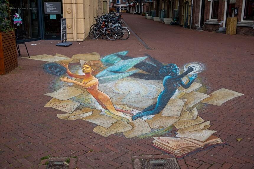 Het thema van het straattekeningenfestival in Arnhem is muziek