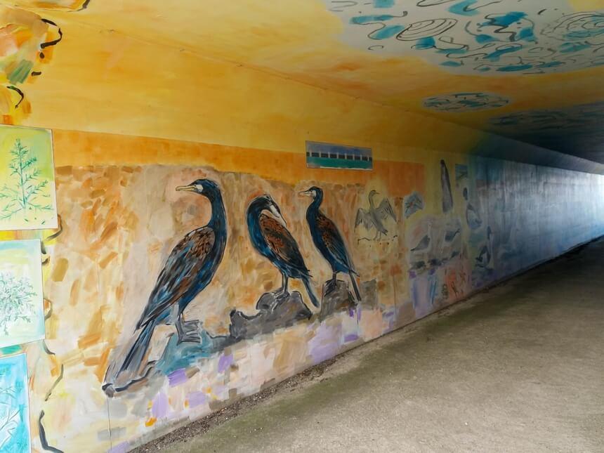 De tunnel is beschilderd met vogels
