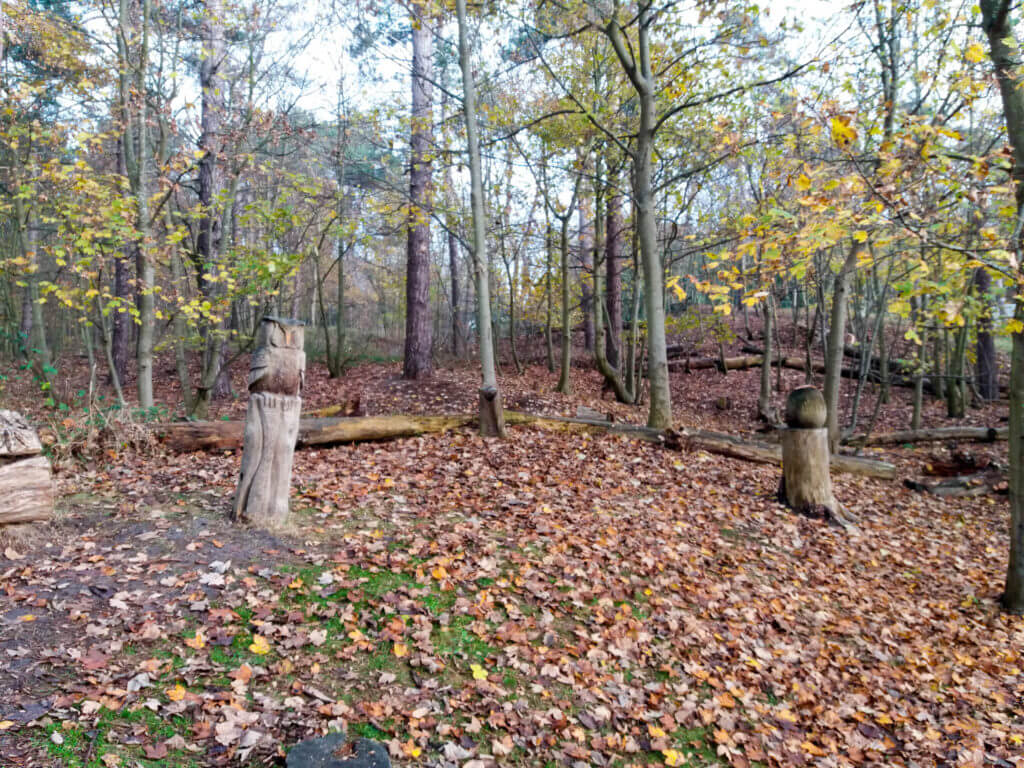 De houten beelden zijn met een kettingzaag gemaakt door boswachter Alex de Visser